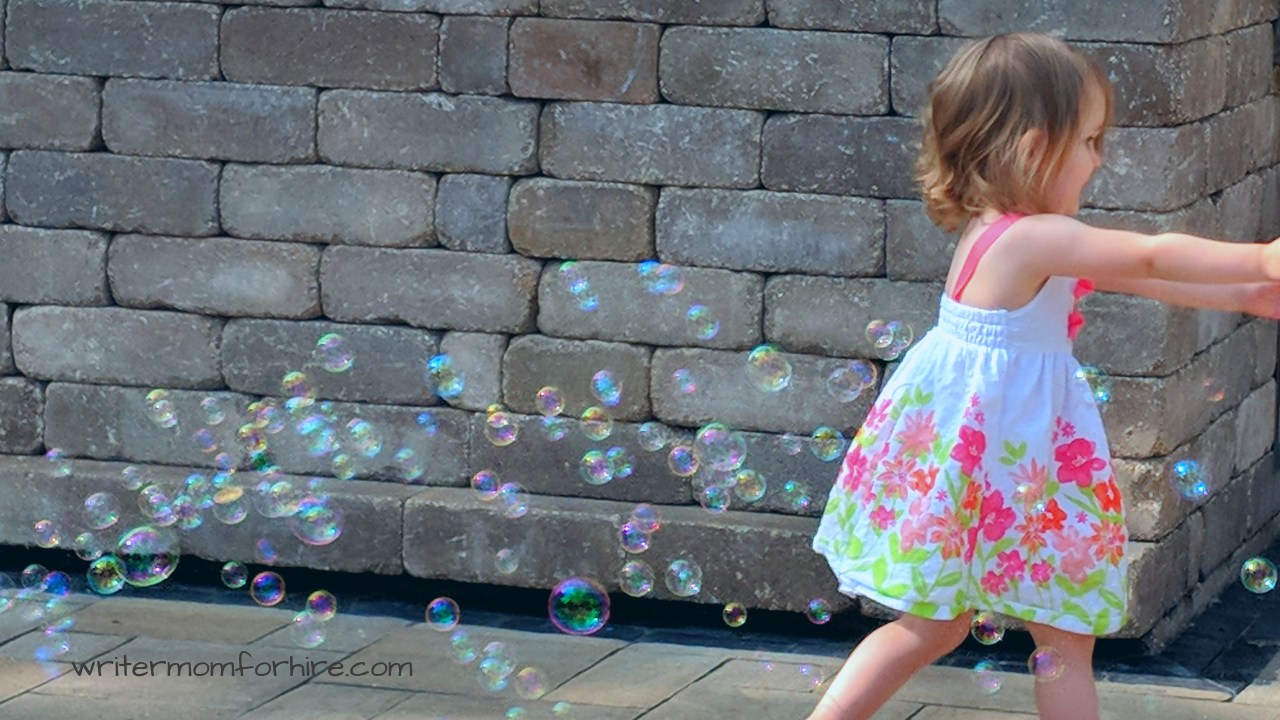 bubble activity for toddler's outdoor birthday party