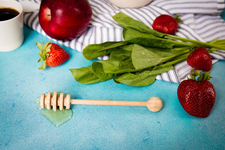 flatlay of healthy food