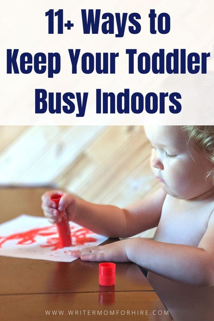 pin this image to share the article on ideas to keep toddlers busy