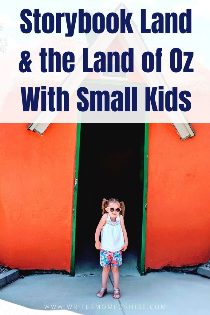 pinterest image that says storybook land aberdeen sd and the land of oz with small kids