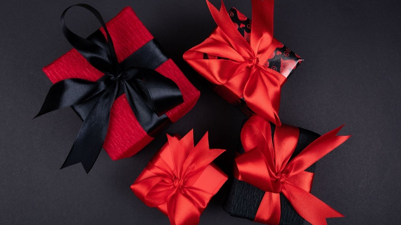 red and black wrapped non-cheesy valentine's day gifts for him