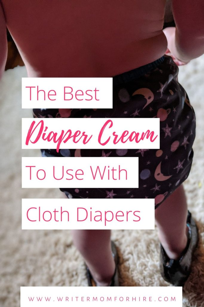 pinterest graphic that has a photo of a toddler wearing a cloth diaper, plus text urging readers to find out about the best diaper rash cream for cloth diapers
