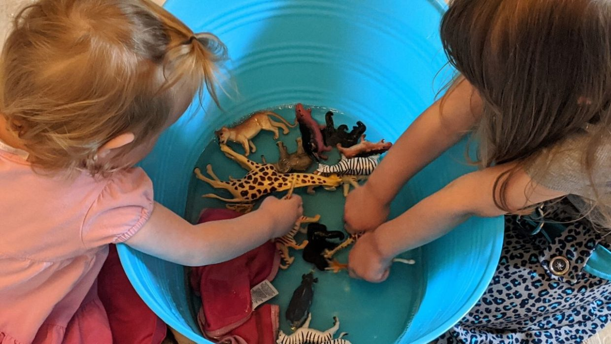 photo of my girls bathing their safari animals -- just one of the fun things to do with toddlers at home when bored!