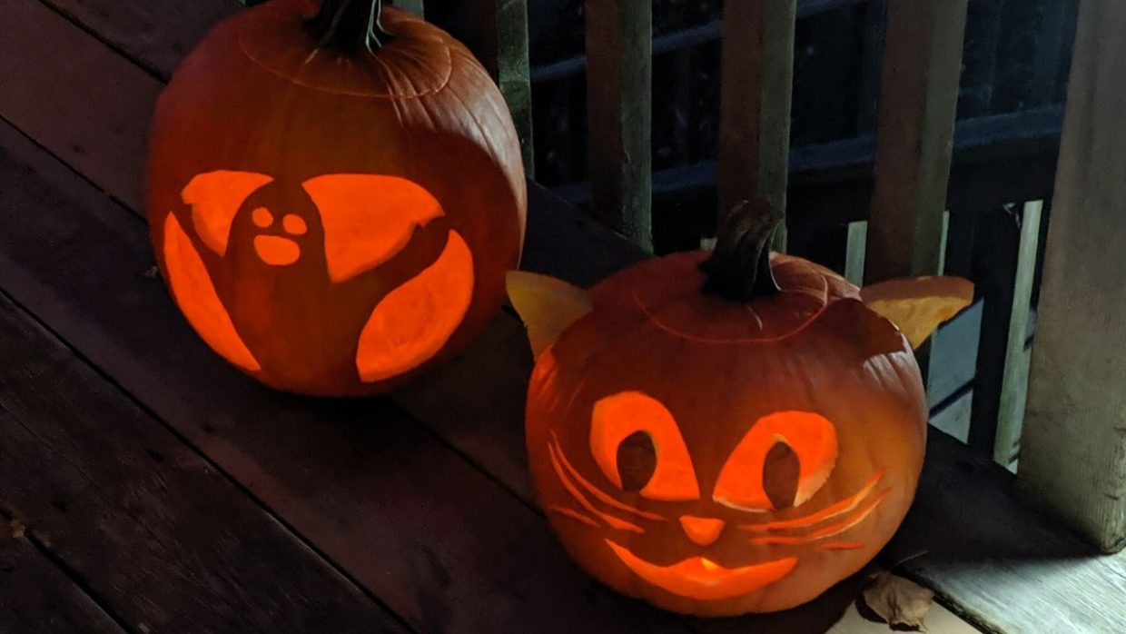 photo of carved pumpkins - decorating pumpkins is an excellent idea of how to celebrate halloween at home