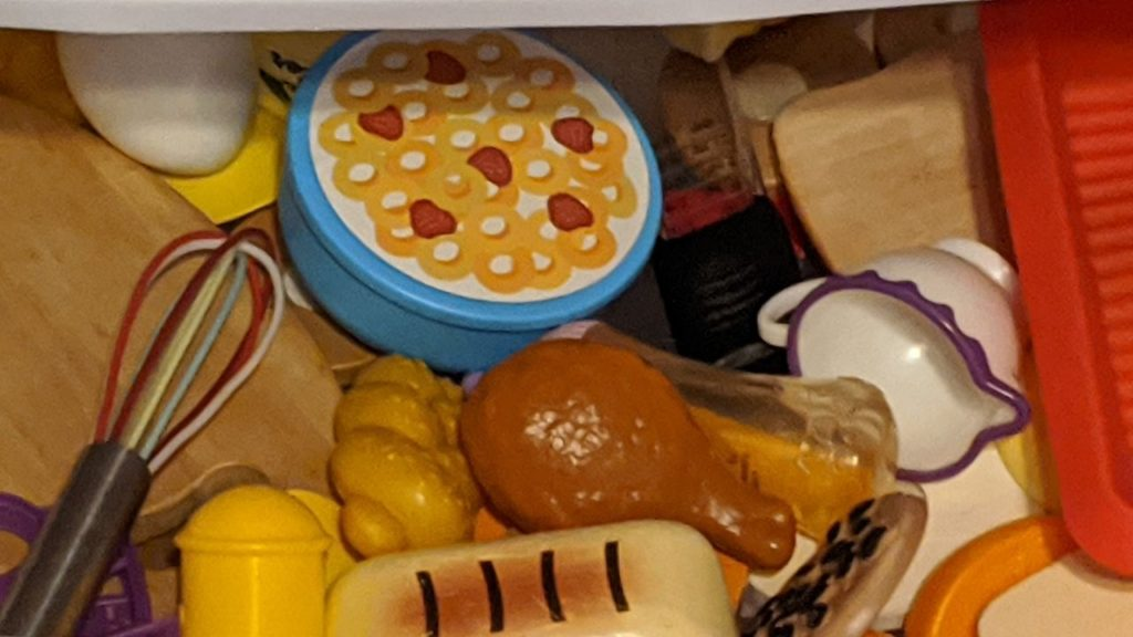 drawer full of play food for toddlers, preschoolers