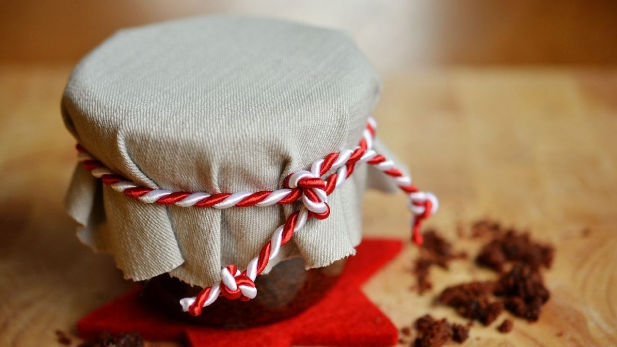 gift in a jar covered with fabric and tied with string