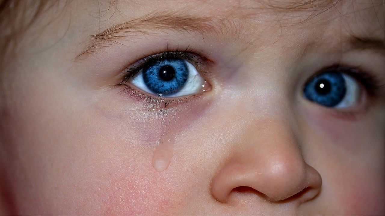 child's eyes and a tear running down the cheek