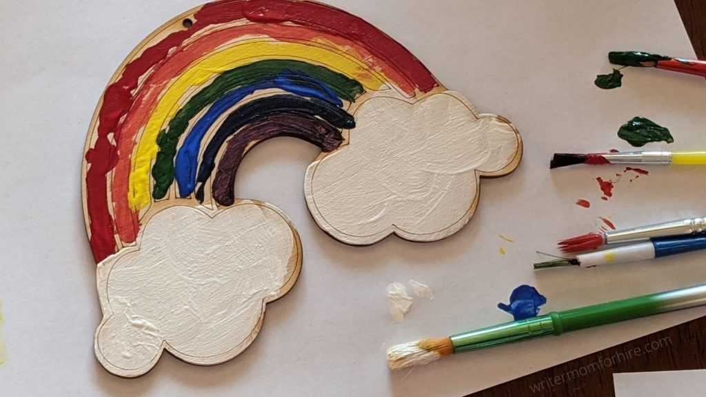 wood rainbow that was included in the green kid crafts subscription box