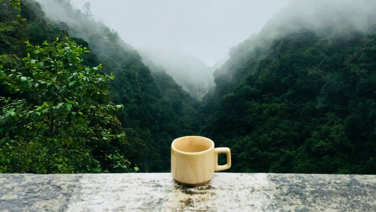 coffee mug in front of a mountain landscape