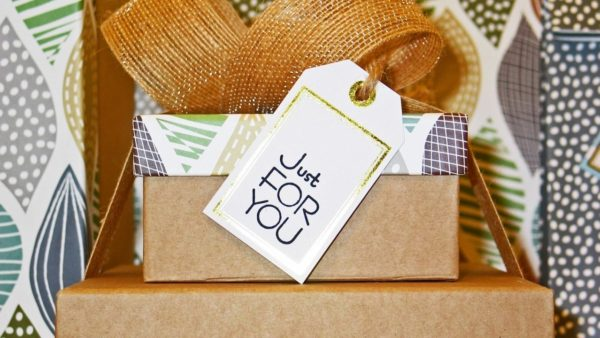 gift with tag that says just for you