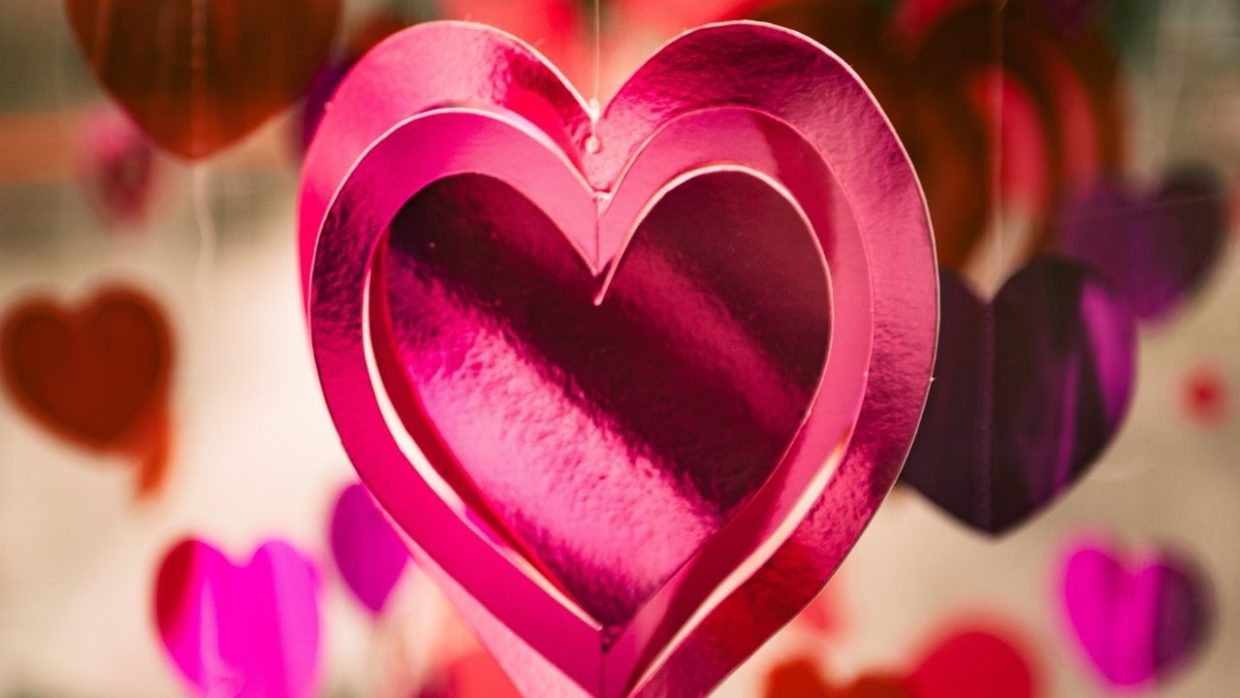 pink valentines day heart