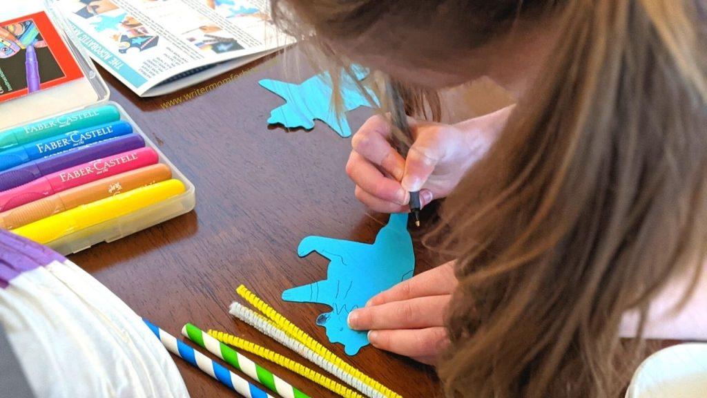 my preschooler busy working on her craft