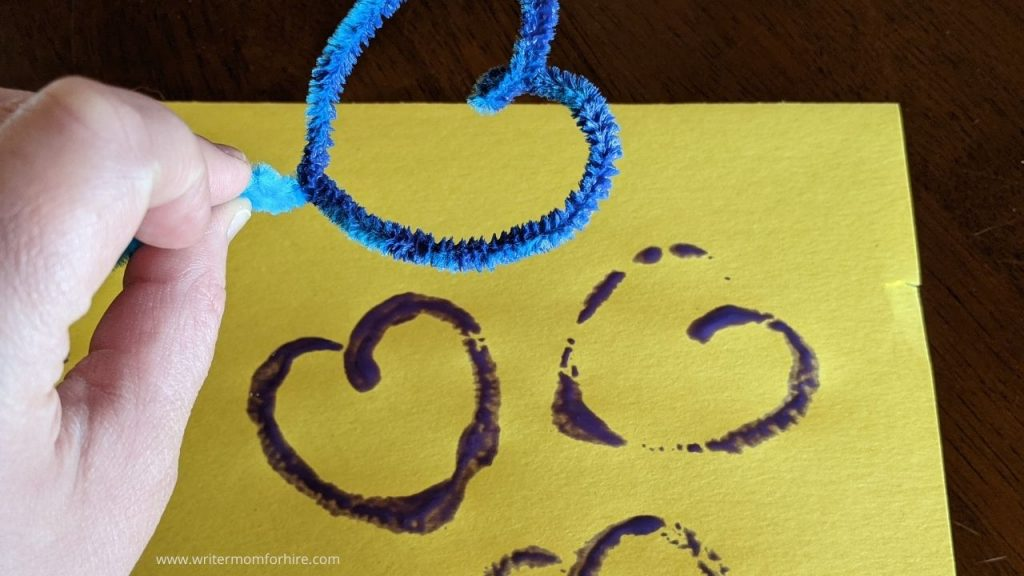 heart shaped pipe cleaner stamp