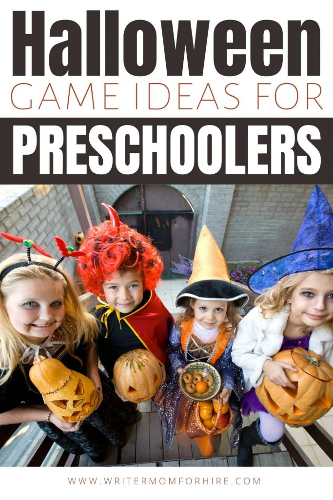 pin this image to share the 18 game ideas for halloween for preschoolers